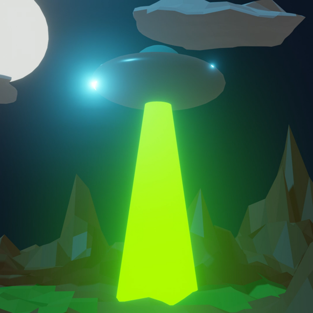 alien, spaceship, low poly, 3d art, blender