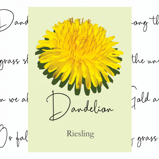 wine, wine label, poetry, dandelion, riesling